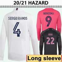 20 21 Hazard Modric Kroos Mens Soccer Jerseys Sergio Ramos Benzema Casemiro Home Away 3ème manches longues Chemises de football Isco Bale Uniformes