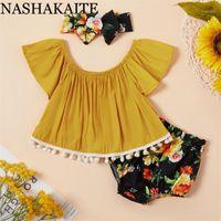 Conjuntos de ropa Nashakaite Summer Summer Baby Girl Ropa Set Tassle Top sin huelle + Pantalones cortos Trajes de Diadema para 6m-4y Ropa1