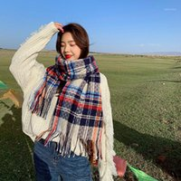 Шарфы RoyalMaybe 2021 шарф женские утолщенные теплые имитации кашемировые ретро кисточкой платок плед долго нагрудник модный дизайнер Scarf1