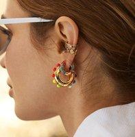 Arco-íris brincos de manguito conjunto para feminino trendy ouro huggie clip na jóia de cristal brincos ps2822