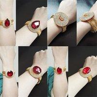 Bangle banhado a ouro mola redonda coração-em forma de amor oval amor rosto diamante completo ruby bracelete aberto b241