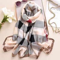 2020 designer marke frauen plaid seide schal shlaw fashion sommer lange schals strand stoler bandana hijab wraps foulard femme1