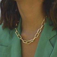 Chaokers 2021 EST Collier à chaîne de liaison pour femmes Collier Déclaration Gold Sliver Color Chunky Colliers Colliers Mode Punk bijoux1