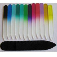 """Lima de uñas CRYSTAL vidrio con protección NEGRO MANGA 5 1/2"""" COLOR 10PCS / LOT # NF014"""