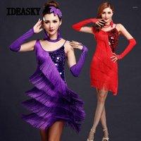 Kırmızı Latin Dans Kostümleri Kadınlar Salsa Giyim Dans Kostüm Elbiseler Balo Salonu Yarışması Elbiseler Tango Yetişkin Saçak Altın Pullu1