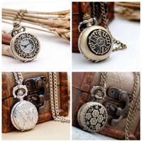 Neue kleine Pflaume Taschenuhr Quarzwerk 27mm Halskette Vintage Zubehör Großhandel Koreanische Edition Pullover Kette Mode Uhr