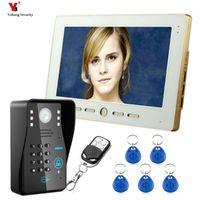 "Yobang أمن 10 ""TFT RFID كلمة المرور الفيديو باب الهاتف الجرس إنترفون نظام مع IR كاميرا 1000 تلفزيون خط التحكم عن بعد"