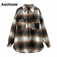 Aachoae Women Streetwear Plaid Jacket Batwing Long Sleeve Loose Coat Office Casual Pocket Tops Lady Outerwear Autumn Winter 201028