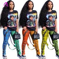 Ekose Sweatpants Kadın Kargo Pantolon Fermuar Dikiş Joggers Hit Renkler Asimetrik Pantolon Fitness Moda Tasarım Kemer Pantolon