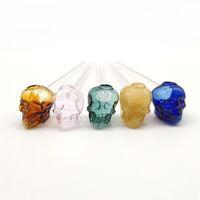Tuyau d'eau 6 pouces Crâne Design Verre Huile Glaseur Tuyaux de couleur Tube à main droite Pyrex Burn Accesso