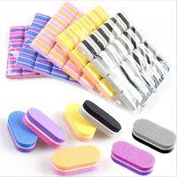 50Pcs Mini Colorful Sponge Nail File 100/180 Double Sided Grit spugna abrasiva Grinding Manicure File Tools