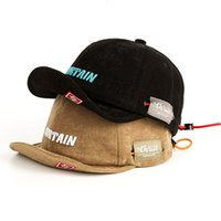 3D Embroidery Soft Baseball Caps,Japan Style Short Visor Hat Youth Fashion Hip Hop Drawstring Peaked Cap 201019