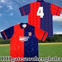 1991 92 레트로 Cagliari Calcio 클래식 축구 유니폼 91 92 홈 Maillots 드 발 기념 컬렉션 빈티지 Maglia 고대 축구 셔츠