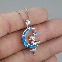 Обручальное Свадебное Ожерелье Голубой Огонь Опал Русалка Подвеска в 925 Стерлингового Серебра Украшения для женщин Подарок