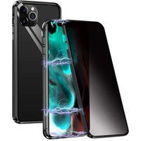 360 Полное покрытие Конфиденциальность Магнитная адсорбция Закаленное Стекло Магнит Анти Шпионский Металлический Чехол Для iPhone 12 Mini Pro Max 5,4 6.1 6,7 Дюйма 2020