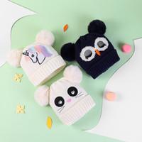 طفل القبعة بوي فتاة الشتاء يونيكورن حك القبعات الدافئة مع 2 كرات لينة الطفل قبعة الكروشيه الكرتون القط البومة الدافئة القبعات الجديد 2020