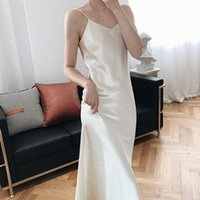 Повседневные платья Sherhure 2021 элегантный без рукавов лето длинный чистый цвет ремешок V-образным вырезом сатинированные женщины платье Vestidos1