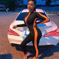 Fitness Sportsy Rompers Combinaisons Womens 2019 Entraînement Patchwork Fermeture à glissière à glissière à manches longues à manches longues Vêtements d'actif automne