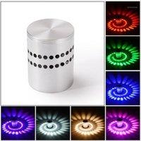 Lâmpada de parede moderna LED luz multicolor 3w alumínio cilindro oco interior home sconce decorar iluminação AC85-265V1