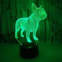 Veränderbare Noten-Fern Bunte 3D-Nachtlichter Atmosphäre Französisch Bulldog 3d kleine Tischlampe Weihnachtsgeschenk Lampe Control Vision