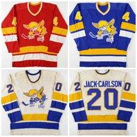 Vintage 1970-76 20 Jack Carlson Mike Walton 4 Ray McKay Minnesota Sabah Saints Hokey Jersey Herhangi bir oyuncuyu veya ismi özelleştirin