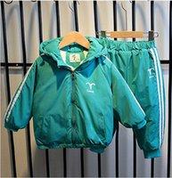 كوكبة طباعة طفل هوديس معطف طويل مع سروال مجموعات ثخن الخضراء الزاهية الألوان الطفل الملابس الأوروبية والأمريكية الشعبية