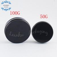 Schwarz Aluminium-Dosen mit Schraubdeckel, 50G Fest-Flüssig-Eyeliner, Lippenstift Container, nachfüllbar Leer Kosmetikverpackung Container
