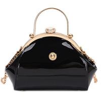montão Top-handle Bags Black Red couro de patente de luxo Tote Bolsas Mulheres Bolsas Moda Feminina Clutch Festa Ladies bolsas Evening Bag Weddi