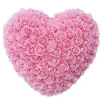 Декоративные Цветы Венки Красный 25 см Розовый Искусственный Цветок Сердце Стена Свадебные Украшения День Святого Валентина Подарочное Мыло Пена Домашняя вечеринка Декор