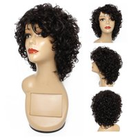 Kissyair color natural cabello ondulado peluca capas de peluca humana brasileña pelucas de pelo negro no remy máquina completa hecha pelucas sin glanas para las mujeres