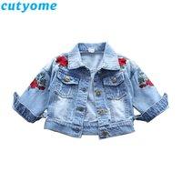 Cutyome Spring Детский джинсы куртка для ребёнков способа розы вышивки Bomber Blazer Fall Toddler Kids Denim Коутс C1021