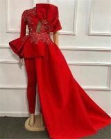 Rood Plus Size Avond Jumpsuit Met Trein 2021 Kantvlek Fluwelen Lange Mouw Ruffles Peplum Arabische Prom Jurk met Pant Pak