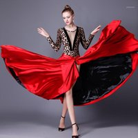 Nuova gonna di ballo spagnolo di New Sle Black Black Red Latin Dance Dress Paso Doble Gonna Gonna Abito Dress Donna Performance1