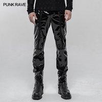 Estilo Negro Moda Punky RAVE Hombres refresquémoslo Lápiz Pantalones Punk Patente mecánico motocicleta de la PU de los hombres guapos Pantalones 1109