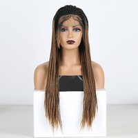 Два тонна плетеных коробки парики для женщин Длинные синтетические кружева передний парик омбре коричневые термостойкие волосы косплей парик