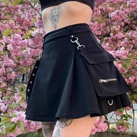HARAJUKU Gothic Punk Gonna Donne Catena a vita alta A-Line Mini Gonna Fashion Black A-Line Belt Streetwear Pleated Nuovo