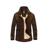 Vestes pour hommes 2021 Drop Hommes 100% coton doublure décontractée Hiver Jacke Vêtements d'extérieur Plaid Plaid Wool Automne Fleece Jacket1