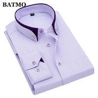 Batmo 2020 new arrival spring high quality stirped casual shirts men,men's plaid shirts,white shirts men plus-size G86