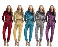 Kadın Streetwear Eşofman 2 Iki Parçalı Set Kadın Takım Iki Parça Kıyafet Kadın Zip Top Tayt Sweatpants Spor Suits