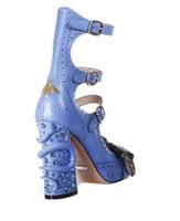 Heißer Verkauf-blaue schwarze Schlange ausgeschnitten Abend Prom Party Pumps Dame Kurzstiefel Schnalle Rhinestone Damen Boot