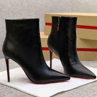Preto de couro genuíno Womens alta sexy de salto Botas de couro botas de tornozelo inferior Red Bombas Paris Red Soles tornozelo Sapatinho Com Caixas