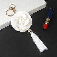 Новое Прибытие Camellia Кожаный Цветок с Кисточкой Цепочка Key Goldow Мода Ключ Кольцо Женская Сумка Подвесной Автомобиль Keychain EH888 H SQCFJA