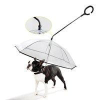 Telescópico punho guarda-chuva de animal de estimação transparente com trela do cão para chuva guarda-chuvas de pé À prova d 'água gato suprimentos pet produtos lj201130