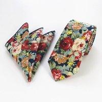 Rbocofashion coton cravates 6 cm maigre bleu vintage cravate floral cravate et mouchoir pour hommes Casual Slim Paisley cravate1