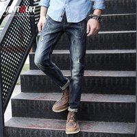 Jantour Streetwear Mens Jeans Ripped Denim Cotton Pants Fashion Biker Men's High Quality Straight Patch Brand Clothing