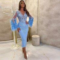 2020 Árabe ASO EBI Curto Prom vestido de mangas compridas penas V Neck Night Party Vestidos de recepção informal