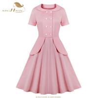 Oscilación Vestido rosa SISHION manga corta de algodón de verano VD1427 Hepburn retro del vestido de Rockabilly 50s 60s vestidos de partido elegantes