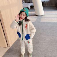 Neue Kinder Jungen Mädchen Fleece Mantel Herbst Winter Kinder Jungen Reißverschlussjacke + Hosen 2pcs / Set Kinderbekleidung