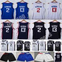2021 New Kawhi Paul 2 Leonard 13 George Jersey Stadt Basketball Trikots Basketball Shorts Schwarz Weiß Blau