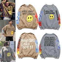 Kanye 스타일 콘서트 후드 티 남자 후드 풀 오버 미소 얼굴 인쇄 스웨터 남자와 여자를위한 스웨터 크루 넥 스웨터